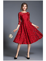cheap -Women's Lace Party Going out Sophisticated A Line Dress - Solid Colored Red, Lace Spring Blue Red L XL XXL