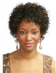 cheap -Synthetic Wig Curly Curly Wig Short Dark Brown / Medium Auburn Synthetic Hair 8 inch Women's Highlighted / Balayage Hair African American Wig Brown