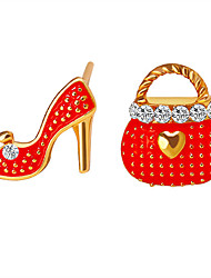 cheap -Women's Mismatch Earrings Mismatched Ladies Personalized Rhinestone Earrings Jewelry White / Red / Pink For Daily Casual
