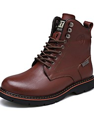 cheap -Men's Combat Boots Leather Fall / Winter Casual Boots Booties / Ankle Boots Black / Brown / Lace-up / Outdoor / EU40