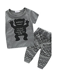 cheap -Toddler Infant Boys' Cartoon Print Short Sleeve Cotton Clothing Set Black