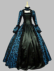 cheap -Rococo Victorian 18th Century Dress Women's Girls' Satin Costume Blue Vintage Cosplay Party Prom Sleeveless Floor Length Ball Gown