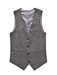 cheap -Men's Work Spring / Fall Plus Size Regular Vest, Solid Colored V Neck Sleeveless Cotton / Spandex Black / Gray / Wine