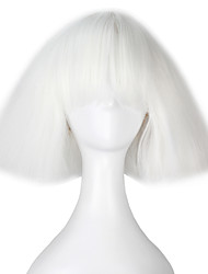 cheap -Synthetic Wig Cosplay Wig kinky Straight Yaki Kardashian kinky straight Yaki Bob With Bangs Wig Short White Synthetic Hair Women's White miss u hair