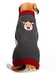 cheap -Dog Coat Sweater Winter Dog Clothes Gray Costume Acrylic Fibers Reindeer Party Holiday Casual / Daily XXS XS S M L XL