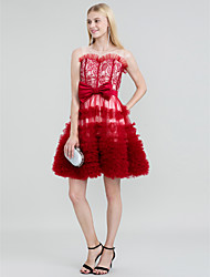 cheap -Ball Gown Color Block Lace Up See Through Cocktail Party Dress Jewel Neck Sleeveless Short / Mini Lace Tulle with Sash / Ribbon Bow(s) Tiered 2020