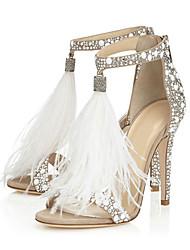 cheap -Women's Sandals Furry Feather Stiletto Heel Open Toe Sweet Wedding Party & Evening Rhinestone Feather Tassel Solid Colored PU Summer Almond / EU41