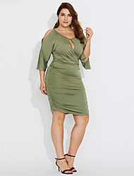 cheap -Women's Plus Size Street chic Butterfly Sleeve Bodycon Dress - Solid Colored, Cut Out