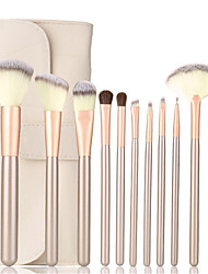 cheap -Professional Makeup Brushes Set 12pcs Make Up Kit with Leather Bag Synthetic Hair Foundation Brushes Blush Brushes Cosmetic Tools for Beginners