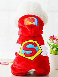 cheap -Dog Hoodie American / USA Keep Warm Winter Dog Clothes Red Blue Costume Plush Fabric