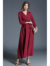 cheap -Women's Daily Maxi Lace Dress - Solid Colored V Neck Spring Red M L XL