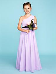 cheap -Princess / A-Line One Shoulder Floor Length Chiffon Junior Bridesmaid Dress with Sash / Ribbon / Side Draping / Color Block / Wedding Party