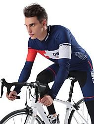 cheap -cheji® Men's Long Sleeve Cycling Jersey with Tights White Dark Blue Bike Clothing Suit Quick Dry Sports Fashion Mountain Bike MTB Road Bike Cycling Clothing Apparel