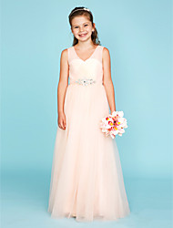 cheap -A-Line / Princess V Neck Floor Length Tulle Junior Bridesmaid Dress with Crystals / Criss Cross / Wedding Party