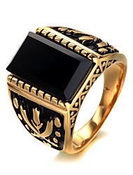 cheap -Men's Ring Signet Ring Gold Silver Titanium Steel Luxury Vintage Punk Birthday Gift Jewelry High School Rings Class