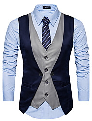 cheap -Men's Daily Fall / Winter Regular Vest, Color Block Black & Gray V Neck Sleeveless Polyester Red / Dark Gray / Navy Blue / Slim