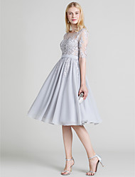 cheap -Ball Gown Open Back Cocktail Party Prom Dress Jewel Neck Half Sleeve Knee Length Chiffon Lace with Sash / Ribbon Beading Appliques 2020 / Illusion Sleeve