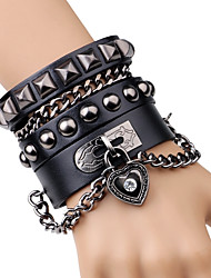 cheap -Men's Chain Bracelet Leather Bracelet Rivet Heart Button Rock Fashion Leather Bracelet Jewelry Black / Brown For Stage Club