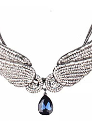 cheap -Women's Synthetic Diamond Statement Necklace guardian angel Personalized Classic Chunky Zircon Alloy White Necklace Jewelry 2pcs For Wedding Party