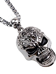 cheap -Men's Pendant Necklace Chain Necklace Mexican Sugar Skull Skull Punk Satanic Metal Alloy Silver Necklace Jewelry For Halloween Stage Cosplay Costumes