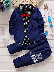cheap -Baby Boys' Indoor / School / Casual / Daily Solid Colored Long Sleeve Regular Cotton Clothing Set Red / Toddler