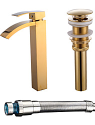 Недорогие -Смеситель - Водопад Ti-PVD По центру Одной ручкой одно отверстиеBath Taps