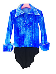 cheap -21Grams Figure Skating Top Men's Boys' Ice Skating Shirt Azure Spandex High Elasticity Competition Skating Wear Handmade Solid Colored Long Sleeve Ice Skating Figure Skating