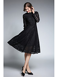 cheap -Women's Lace Party Going out Vintage A Line Dress - Jacquard Stand Spring Blue Black L XL XXL