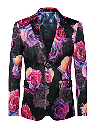 cheap -Men's Club / Party / Cocktail Street chic / Punk & Gothic / Sophisticated Spring / Fall Plus Size Regular Blazer, Floral V Neck Long Sleeve Cotton / Polyester Oversized / Print Red / Slim