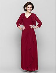 cheap -Sheath / Column V Neck Floor Length Chiffon 3/4 Length Sleeve Convertible Dress Mother of the Bride Dress with Criss Cross / Cascading Ruffles 2020