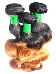 Недорогие -Индийские волосы Естественные кудри человеческие волосы Remy 300 g Омбре Омбре Ткет человеческих волос Расширения человеческих волос / Короткие