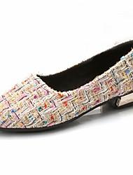 cheap -Women's Flats Low Heel Round Toe Basic Comfort Synthetic Black Beige