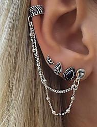 cheap -Women's Clip on Earring Mismatch Earrings Hanging Earrings cuff Drop Crown Personalized Vintage Bohemian Earrings Jewelry Silver For Gift Casual Evening Party Street