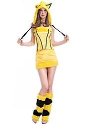 cheap -Fox Girl Cosplay Costume Masquerade Women's Christmas Halloween Carnival Festival / Holiday Spandex Yellow Women's Carnival Costumes Solid Color Stripes / Hat