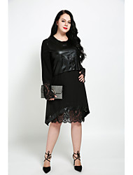 cheap -Women's Lace Plus Size Daily Street chic Shift Dress - Solid Colored Lace Fall Black XXXXL XXXXXL XXXXXXL