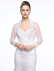 cheap -Long Sleeve Lace / Tulle Wedding / Party / Evening Women's Wrap With Appliques / Lace Shrugs