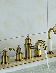 cheap -Tub And Shower Ceramic Valve Three Handles Five Holes Bronze, Bathtub Faucet