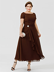 cheap -A-Line / Ball Gown Bateau Neck Tea Length Chiffon Short Sleeve Elegant & Luxurious / Glamorous & Dramatic / Plus Size Mother of the Bride Dress with Crystal Brooch 2020
