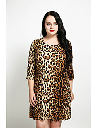 cheap -Women's Plus Size White Brown Dress Vintage Spring Daily A Line Loose Shift Leopard XXXL XXXXL / Cotton