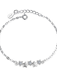 cheap -Women's Cubic Zirconia Chain Bracelet Star Dainty Ladies Sterling Silver Bracelet Jewelry Silver For Wedding Party