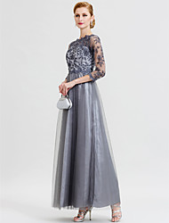 cheap -Ball Gown A-Line Mother of the Bride Dress Beautiful Back See Through Illusion Neck Floor Length Floral Lace Lace Over Tulle 3/4 Length Sleeve with Appliques 2020 / Illusion Sleeve