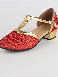 Недорогие -Жен. Танцевальная обувь Блестки Обувь для модерна На низком каблуке Персонализируемая Золотой / Красный / В помещении / EU38
