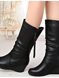 cheap -Women's Boots Flat Heel Nappa Leather Booties / Ankle Boots / Mid-Calf Boots Fashion Boots Fall / Winter Black / EU39