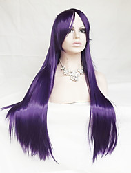 cheap -Synthetic Wig Cosplay Wig Straight Straight Asymmetrical With Bangs Wig Long Purple Synthetic Hair Women's Natural Hairline Purple