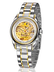 Недорогие -Муж. Часы со скелетом / Механические часы Защита от влаги / С гравировкой сплав Группа Серебристый металл / Золотистый / С автоподзаводом