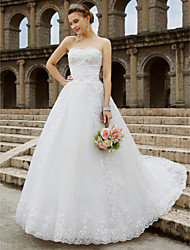 cheap -Ball Gown Wedding Dresses Strapless Sweep / Brush Train Tulle Glitter Lace Strapless Country Sparkle & Shine Backless with Bow(s) Beading 2021