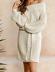 cheap -Women's Off Shoulder Daily Going out Bodycon Sweater Dress - Solid Colored Boat Neck Spring Cotton Beige Gray One-Size