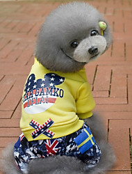 cheap -Dog Jumpsuit Winter Dog Clothes Yellow Red Costume Baby Small Dog Cotton Stars Casual / Daily S M L XL XXL