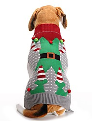 cheap -Dog Sweater Christmas Christmas Winter Dog Clothes Gray Costume Acrylic Fibers XXS XS S M L XL