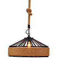 cheap -1-Light Vintage Industrial Hemp Rope Loft Pendant Lights Metal Living Room Dining Room Kitchen Bar Cafe Light Fixture
